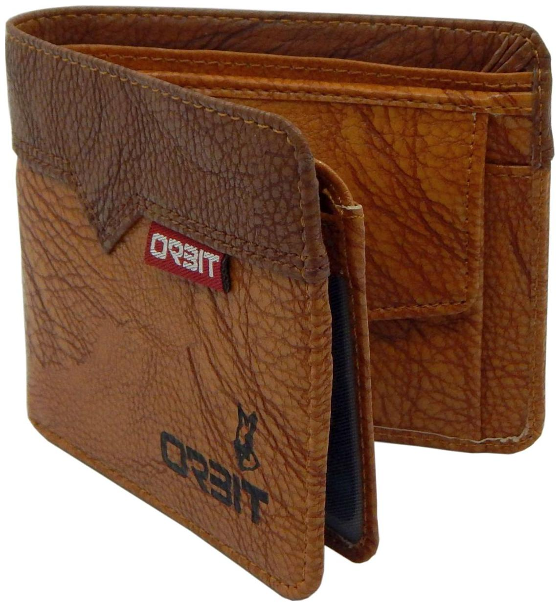 Orbit Men Brown Leather Tri Fold Wallet   Pack of 1   by Punarvasan