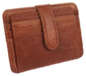 Ox Rodeo Unisex Leather Card holder - Brown , Pack of 1