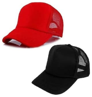 (Pack of 2) ODDEVEN Red & Black Half Net, Baseball, Trucker Caps, Mesh Cap