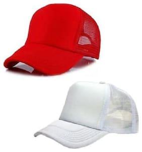 (Pack of 2) ODDEVEN Red & White Half Net, Baseball, Trucker Caps, Mesh Cap
