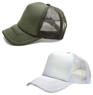 (Pack of 2) ODDEVEN White & Light Green Half Net, Baseball, Trucker Caps, Mesh Cap