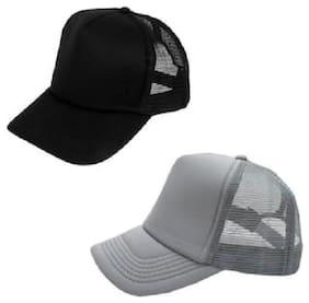 (Pack of 2) ODDEVEN Grey & Black Half Net cap, Baseball, Trucker Caps, Mesh Cap