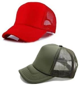 (Pack of 2) ODDEVEN Red & Light Green Half Net, Baseball, Trucker Caps, Mesh Cap