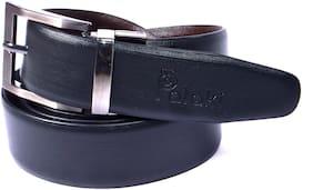 Palaki Men Black Reversible Leather Belt (Size: Free size , Pack of 1 )