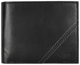 Men Leather Bi-Fold Wallet ( Black )