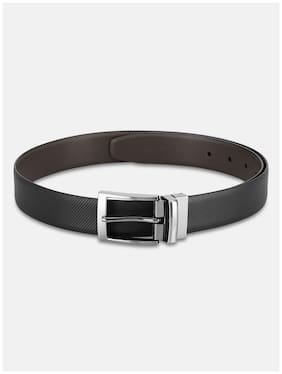 Park Avenue Men Black Leather Belt (Size: 34 , Pack of 1 )