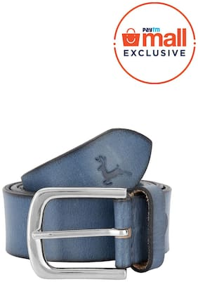 Parx Men Blue Leather Belt (Size: 38 , Pack of 1 )