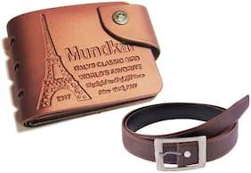 Peacock Mundakr Tan Pu wallet and belt combo for regular and casual use