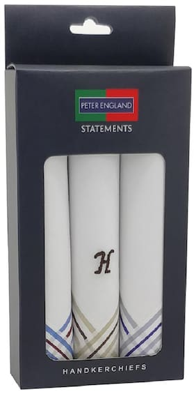 Peter England Men's Cotton Handkerchief with Alphabet 'H' Letter Embroidery