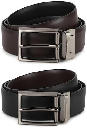 Peter England Casual PU Black Reversible Belt For Men