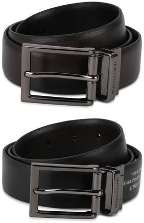 Peter England Men Black Pu Belt (Size: 32 , Pack of 1 )