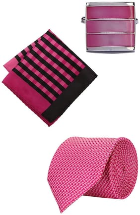 Peter England Pink Tie Pocket Square And Cufflink