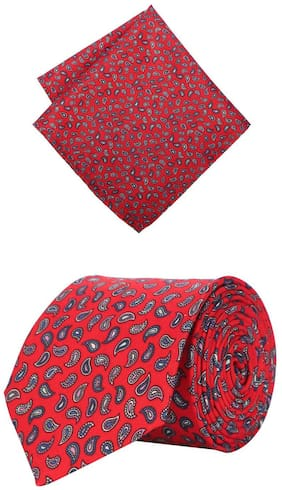 Peter England Red Tie and Pocket Square