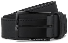 Peter England Men Black Pu Belt (Size: 34 , Pack of 1 )
