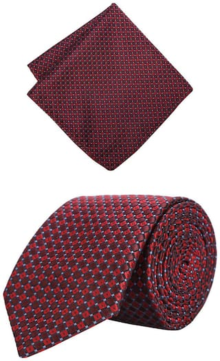 Peter England Maroon Tie and Pocket Square