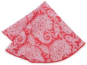 Peter England Silk Pocket Square - Red