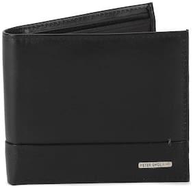 Peter England Men Black Leather Bi-Fold Wallet ( Pack of 1 )