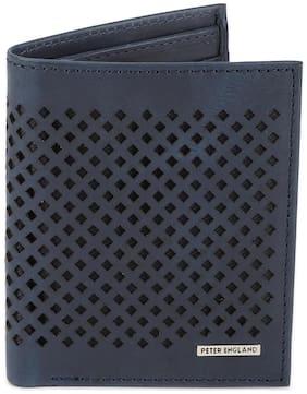Peter England Men Blue Leather Bi-Fold Wallet ( Pack of 1 )