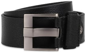 Peter England Casual Leather Black Reversible Belt For Men