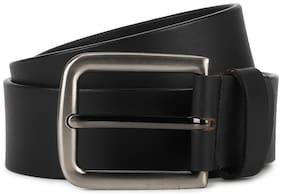 Peter England Men Black Leather Belt (Size: 38 , Pack of 1 )