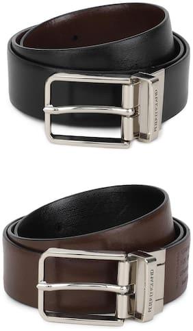 Peter England Men Brown & Black Leather Belt (Size: 38 , Pack of 1 )
