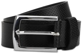 Peter England Men Black Leather Belt (Size: 36 , Pack of 1 )