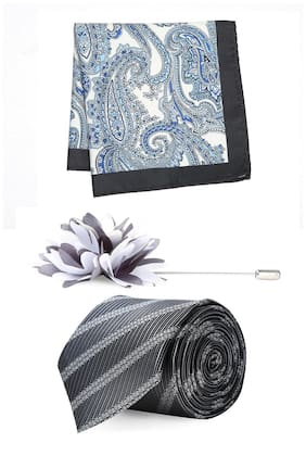 Peter England Grey Pocket Square Tie And Lapel Pin