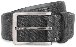 Peter England Men Black Leather Belt (Size: 34 , Pack of 1 )