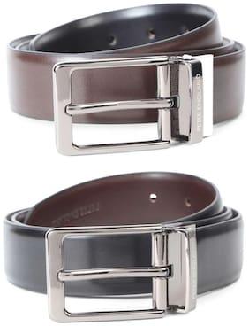 Peter England Men Black Leather Belt (Size: 30 , Pack of 1 )