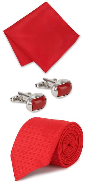 Peter England Red Tie Pocket Square And Cufflink