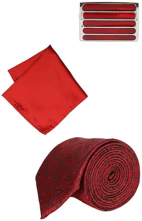 Peter England Maroon Tie Pocket Square And Cufflink