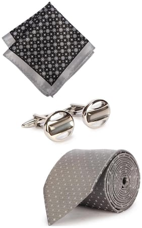 Peter England Grey Tie Pocket Square And Cufflink