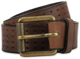 Peter England Men Brown Leather Belt (Size: 34 , Pack of 1 )