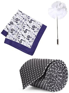 Peter England White Pocket Square Tie And Lapel Pin