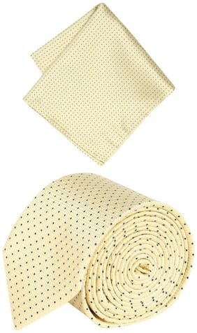 Peter England Yellow Tie and Pocket Square