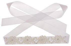 Phenovo Wedding Bridal Dress Flower RhinestoneWhiteBelt Waistband White