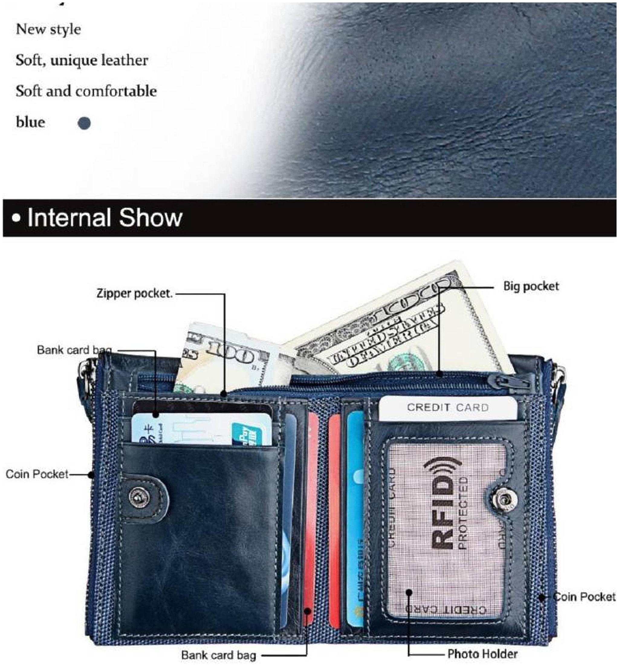 Genuine Leather Men Bifold Wallet Zip Around ID Business Credit 16-32 Cards
