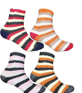 Pinkit Soft & Cozy Women Fuzzy Socks Winter Warm Feather Slipper Bed Socks (Without Thumb Socks)