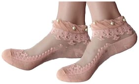 PinKit Ankle Length Trendy Beautiful Pearl Pink Socks for Women