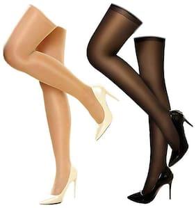 PinKit Combo of 2 Stockings for Girls and Women Full Legs Stockings in Black;BeigeThigh-Highs Stockings - Pack of 2