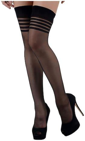 PinKit Ladies Sheer Thigh-High Transparent Stockings Hold Ups - Black