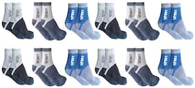 PinKit Men's Cotton Calf Length Socks (Multicolour;Free Size)Pack of 12