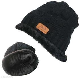 PinKit  Unisex Winter Beanie Cap with Warm Fleece Inside;Thick Slouchy Snow Knit Skull Ski Cap