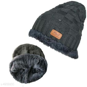 PinKit  Unisex Winter Beanie Cap with Warm Fleece Inside;Thick Slouchy Snow Knit Skull Ski Cap