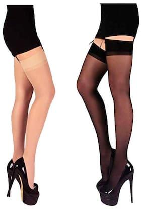 Women Thigh High Socks Pack of 2 ( Black;Beige )