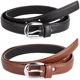 PINKIT Women Leather Belt - Brown & Black