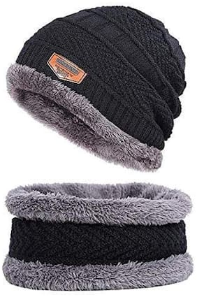PinKit Warm 2 pc Set of Winter Beanie Hat and Neck Scarf Set Warm Knitted Fur Lined for Men & Women