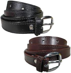 Pinkit Women PU Belt - Black & Brown