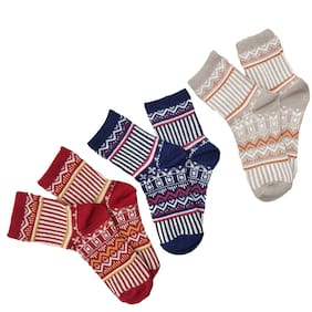 Pinkit Women'S Winter Cashmere Socks (Multicolour;Free Size) -Pack Of 3 Pairs