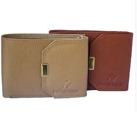 pocket bazar  Men Tan, Beige Artificial Leather Wallet  (6 Card Slots)